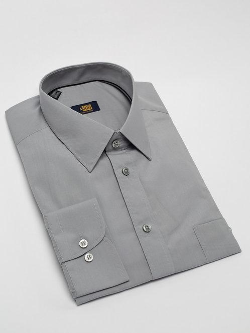 Риза с дълъг ръкав сив поплин