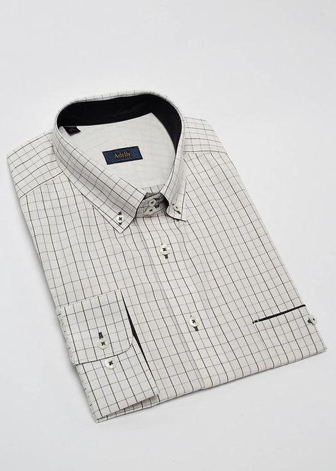 Риза с дълъг ръкав  светло бежово и черно каре