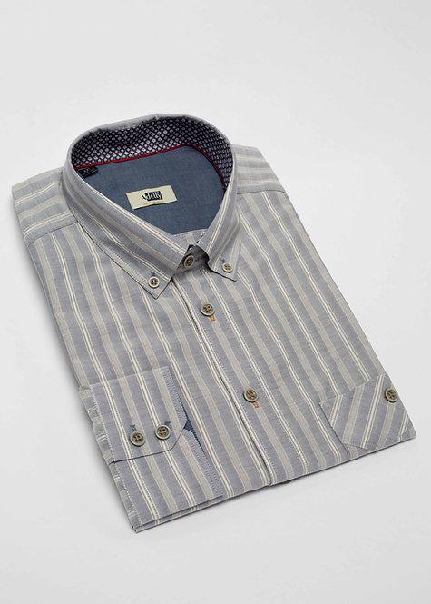 Риза с дълъг ръкав  сиво райе