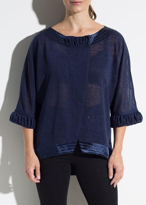 Дамска блуза със сатенирани детайли тъмно синя