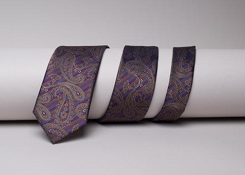 Копринена вратовръзка лилава на пейсли
