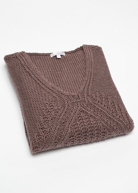 Дамска плетен пуловер кафяв