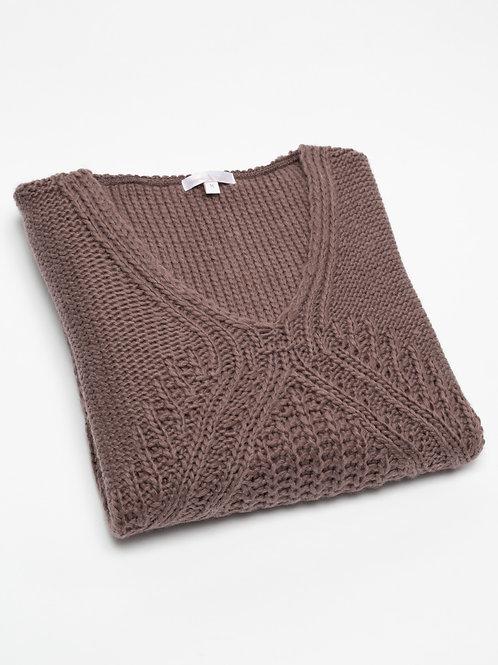 Дамски плетен пуловер кафяв