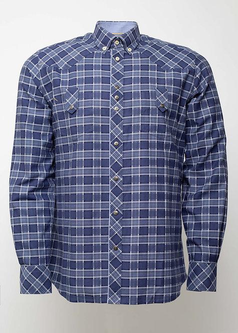 Риза с дълъг ръкав синьо каре