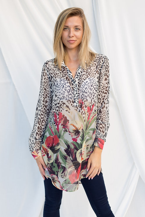 Дамска туника с леопардов принт и цветя