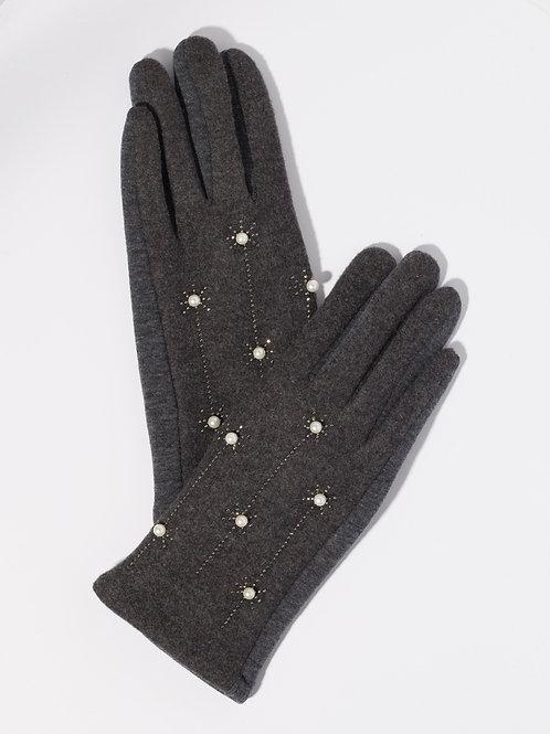 Дамски ръкавици-графит с перли