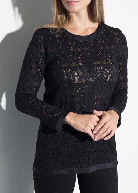Дамска блуза черна дантела