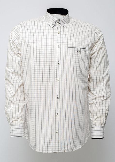 Риза с дълъг ръкав  в екрю и черно каре