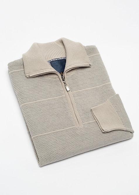 Мъжки пуловер с яка с цип бежов