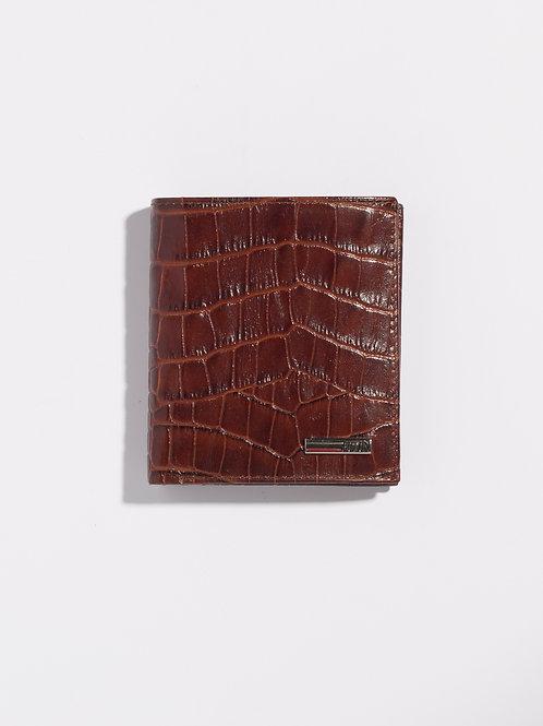 Кожен портфейл кафяв брик