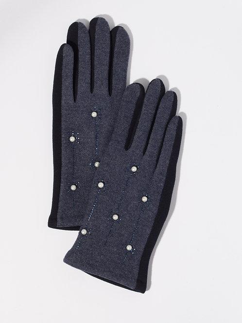 Дамски ръкавици- тъмно сини с перли