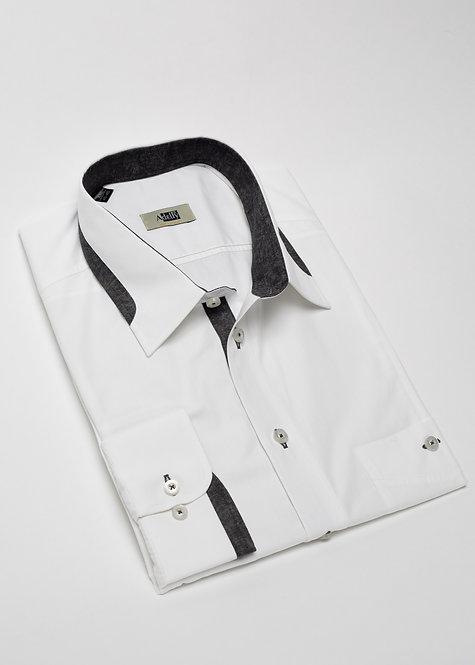 Риза с дълъг ръкав бяла с детайли в графит