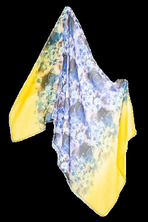 Памучен шал жълто със сини цветя