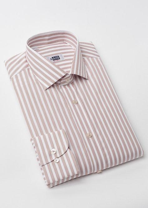Риза с дълъг ръкав  в бяло и бежово райе