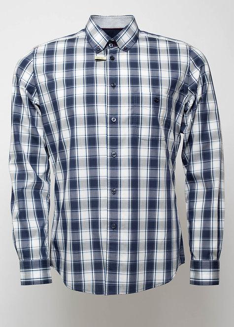 Вталена спортна риза в бяло и синьо каре