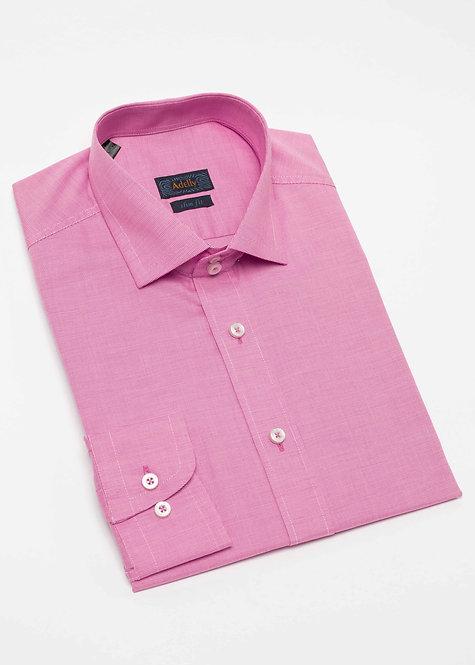 Вталена риза с дълъг ръкав  розово