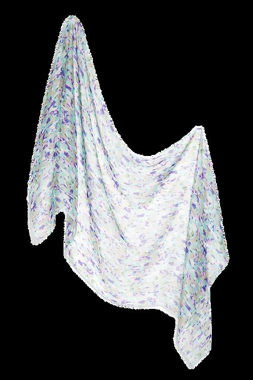 Копринен шал тюркоаз и лилаво