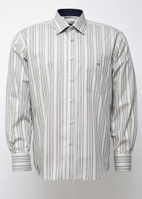 Риза с дълъг ръкав бежово, черно и бяло  райе