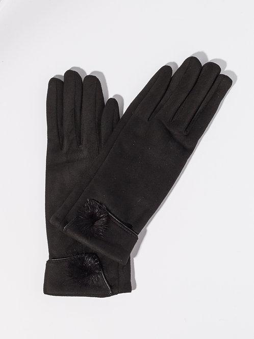 Дамски ръкавици- черни с пух