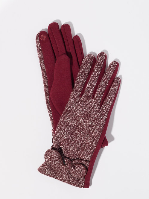 Дамски ръкавици- бордо с декоративна панделка