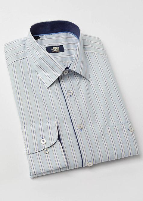 Риза с дълъг ръкав  в светло синьо и бяло райе