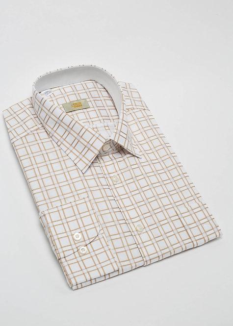 Риза с дълъг ръкав бяло и бежово каре