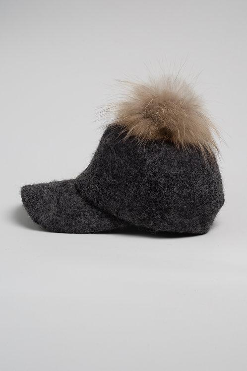 Вълнена шапка с козирка сива