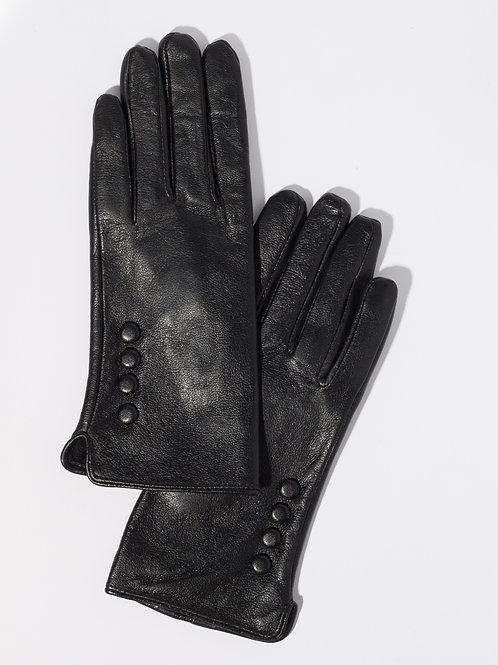 Дамски ръкавици- черни естествена кожа с декоративни копчета