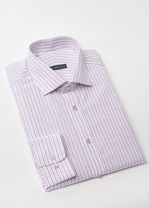 Риза с дълъг ръкав  в бяло и лилаво райе