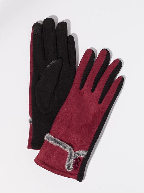 Дамски ръкавици- бордо с копчета и пух