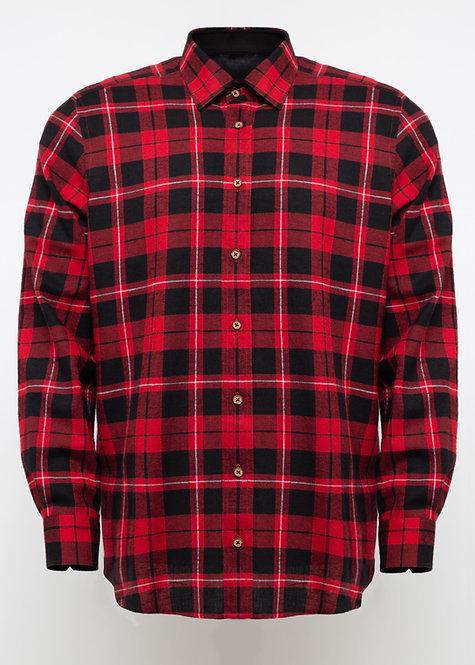 Спортна риза с дълъг ръкав  червено и черно каре