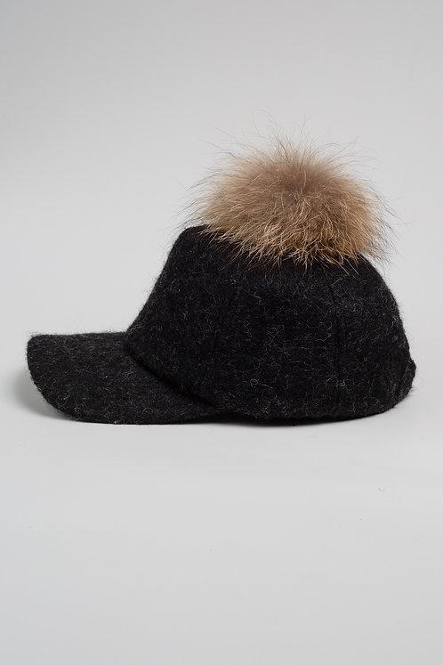 Вълнена шапка с козирка черен меланж