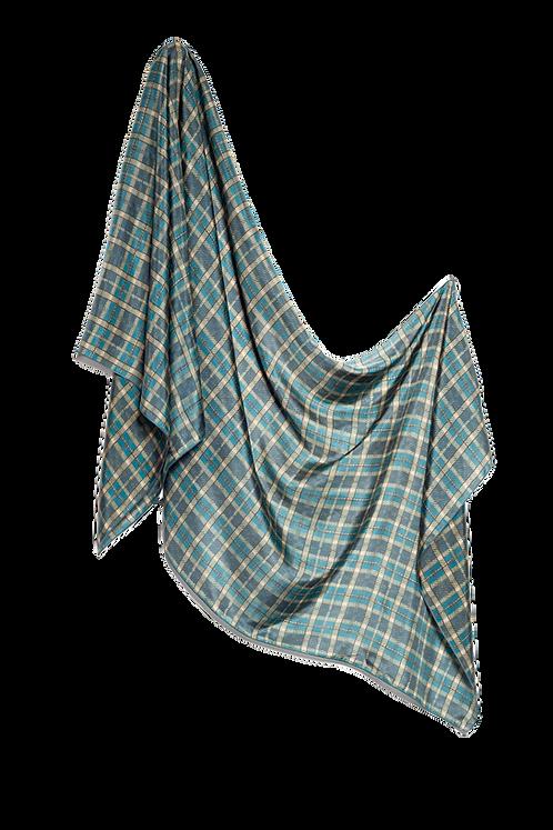 Копринен шал зелено каре