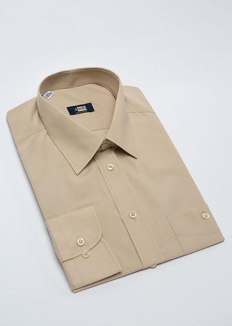 Риза с дълъг ръкав бежов поплин