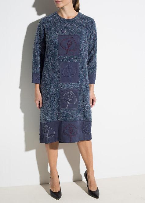 Вълнена дамска рокля сиво-син меланж