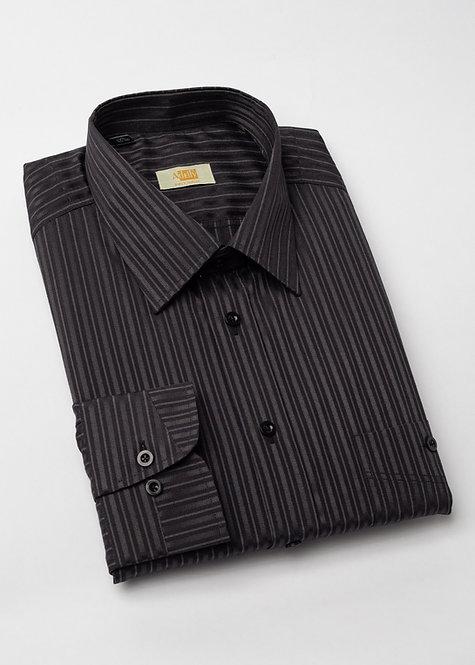 Риза с дълъг ръкав черно и графит райе