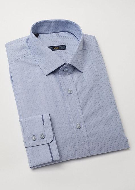 Риза с дълъг ръкав синьо на дискретни фигури