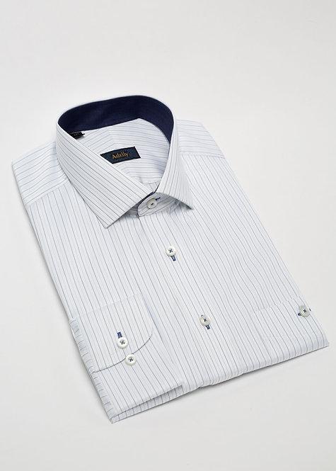 Риза с дълъг ръкав структурна в бяло и синьо райе