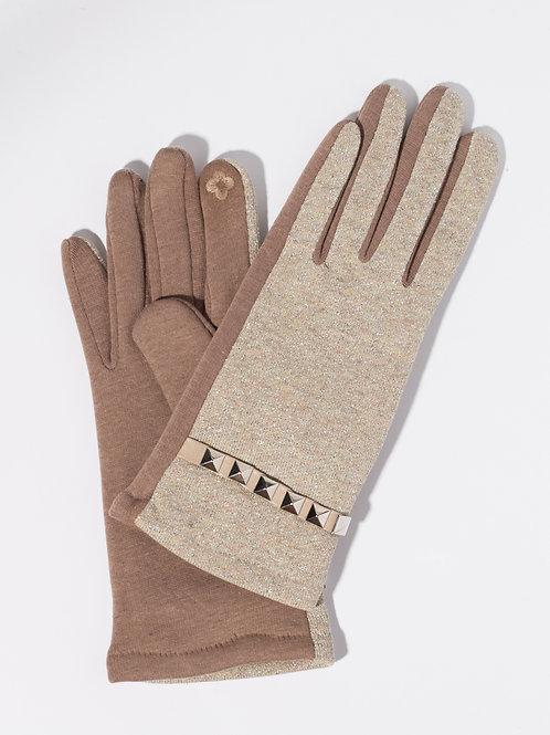 Дамски ръкавици- бежови с метален елемент