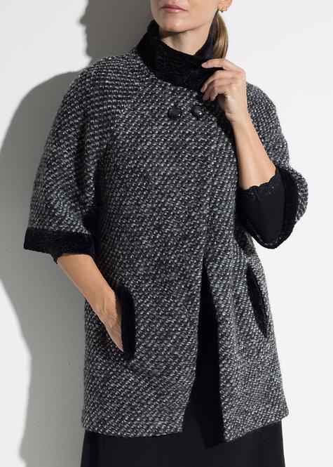 Дамскo късо палто жакет черен меланж