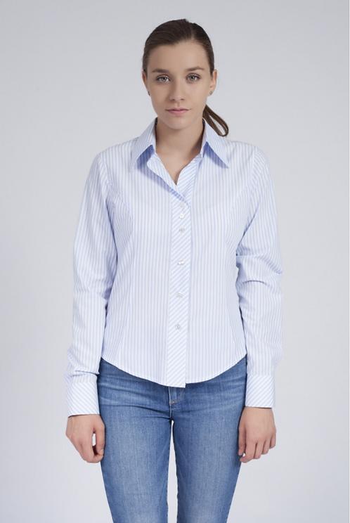 Дамска риза в бяло и синьо райе