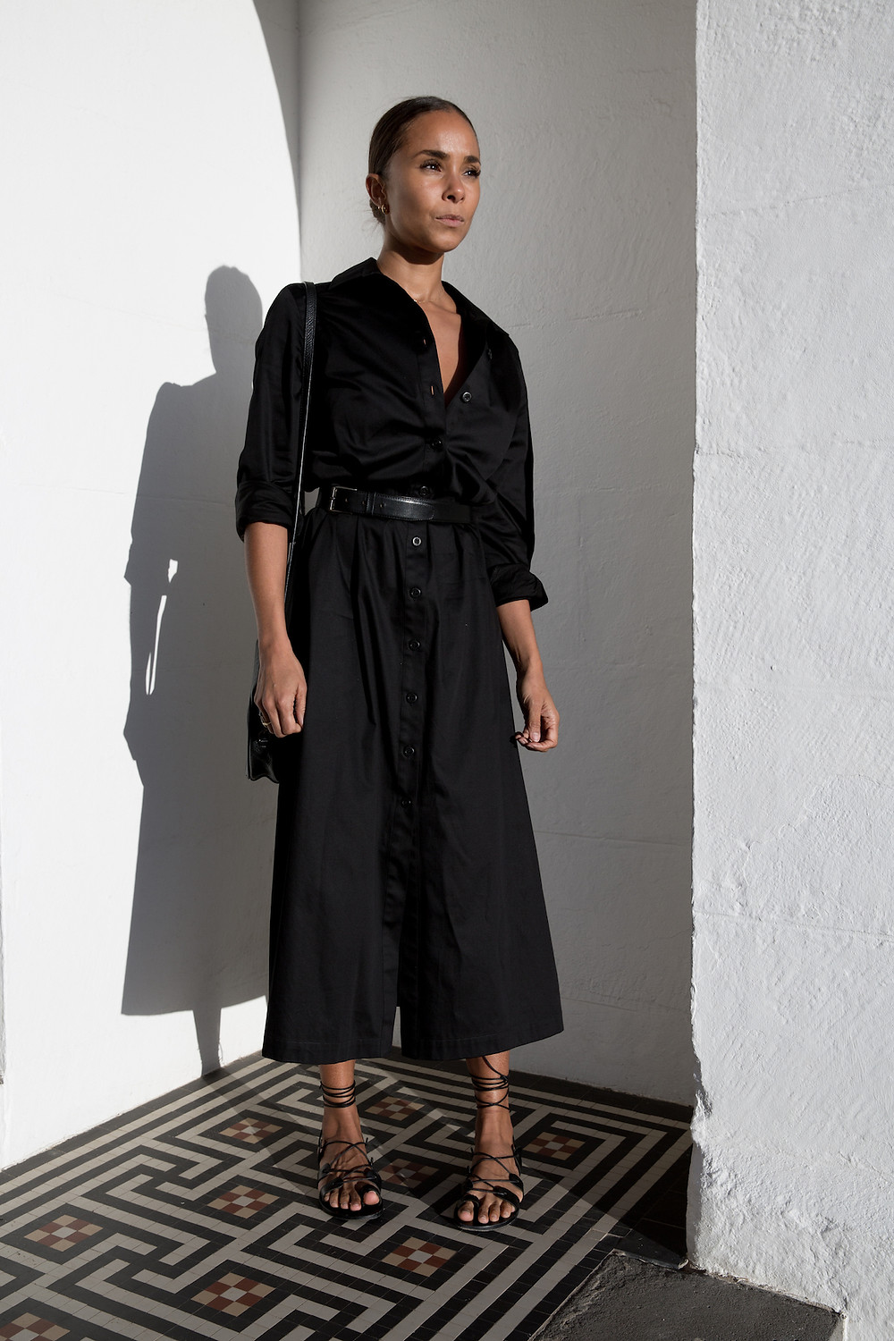Sophia Belted Cotton-Poplin Maxi Shirt Dress