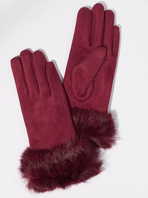 Дамски ръкавици- бордо с пух