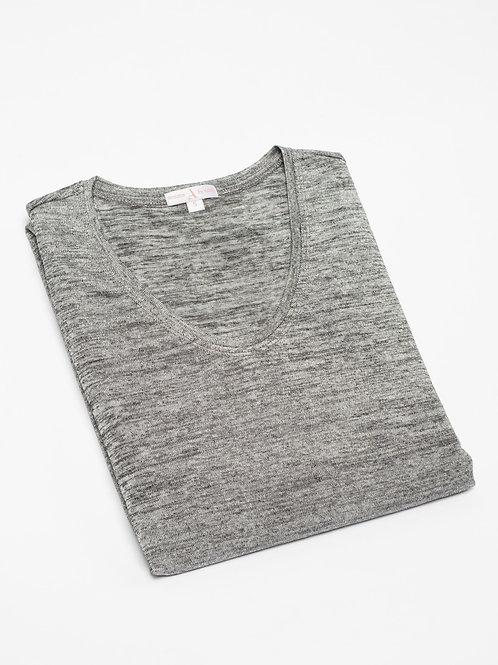 Дамска блуза от фино трико- сив меланж
