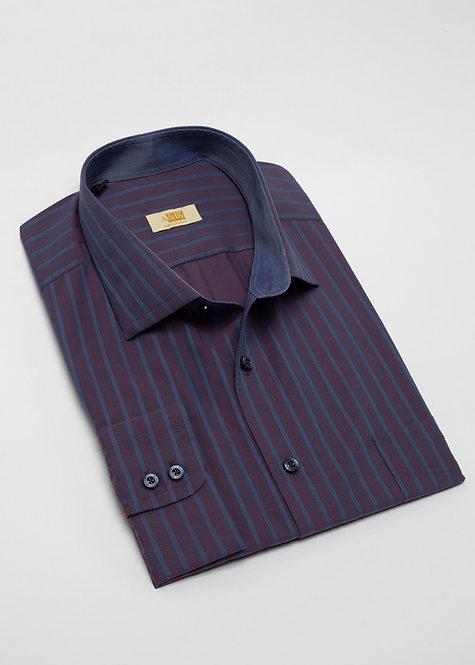 Риза с дълъг ръкав лилаво и синьо райе