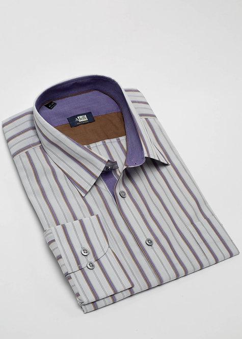 Риза с дълъг ръкав бежово, кафяво и лилаво райе
