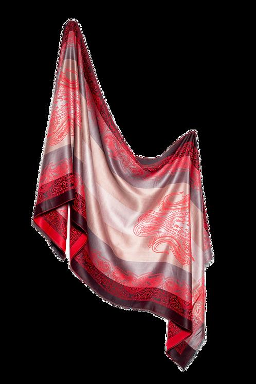 Дамски шал жакард червен