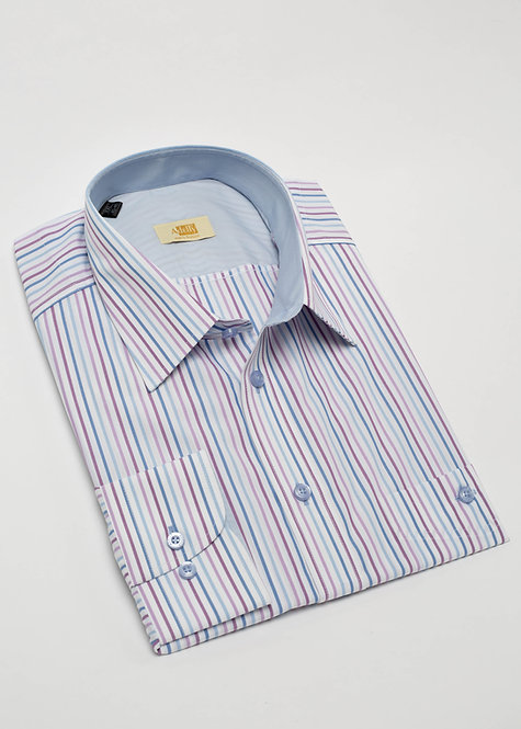 Риза с дълъг ръкав  лилаво, синьо и бяло райе