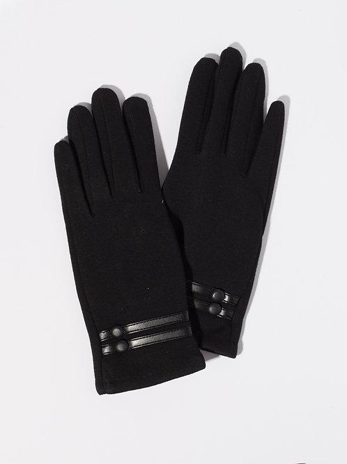 Дамски ръкавици-черни с кожен елемент и копчета