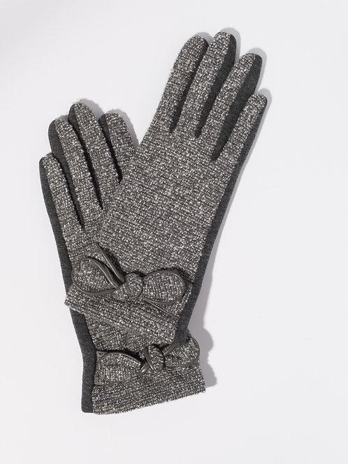 Дамски ръкавици- тъмно сиви  с декоративна панделка